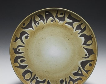 Large Handmade Dark Stoneware Platter with Abstract Glaze Design 15-040