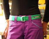 Fat Nylon Belt - Hi-Viz Green with White D-Rings