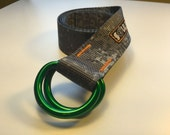 Fat Nylon Belt - Gray Digital Camo with Green Powdercoated D-Rings