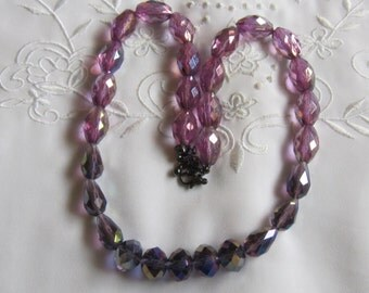 Vintage Pink and Purple Iridescent Glass and Plastic Beaded Necklace