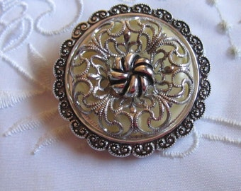 Vintage West German Fancy Scarf Clip with Pale Yellow Pearlized Background