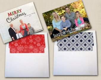 Coordinating 5x7 Envelope Liners (printed sets of 25) to match any Tints and Prints by Tierney card