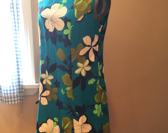 Vintage Bark cloth dress Hawaii Hibiscus flowers women's fits size 10 to 14