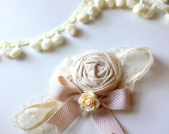 Vanilla Bean - ivory cream tan rosette chiffon and bow headband