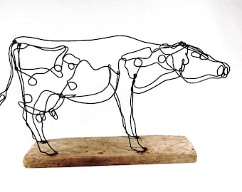 Reserved for Richard: Cow Wire Sculpture, Dairy Cow Sculpture, Cow Folk Art, 475164787