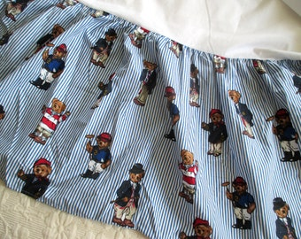 Vintage Teddy Bear Bed Skirt Dust Ruffle by Ralph Lauren Twin Size
