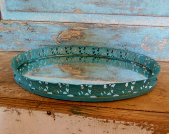 Filigree Vanity Mirror Tray Turquoise Vintage