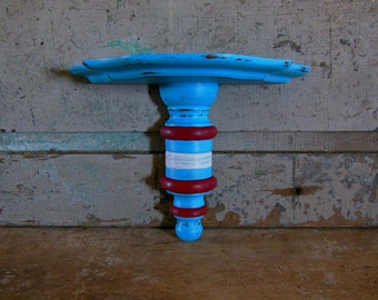 Turquoise Red White Shelf Distressed Wood Wall Decor