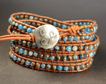 Golden Aqua Quartz 5X Beaded Leather Wrap Bracelet, 5X Leather Wrap, Golden Aqua Quartz 4mm beaded leather wrap bracelet