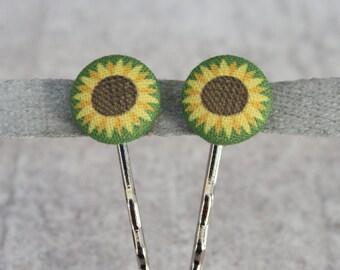 Sunflower Fabric Button Bobby Pin Pair