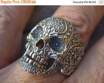ON SALE SALE......Large sugar skull ring in sterling silver
