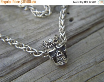 ON SALE Medieval skull slide necklace in sterling silver