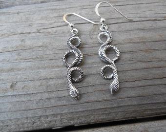 Snake earrings handmade in sterling silver