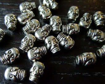 BULK (pkg/60) Skull Spacer Bead Charms - acrylic, plastic - for pendants, jewelry making, crafts, scrapbooking