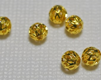 Gold plated filigree round beads, 5mm - #2052