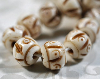 Carved cow bone beads, 7mm, #875