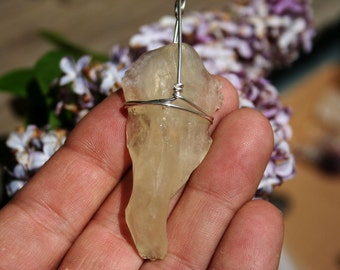 Libyan Gold Tektite Elephant Trunk Shaped Wire Wrapped with Argentium Silver Yellow Desert Glass Stone Pendant