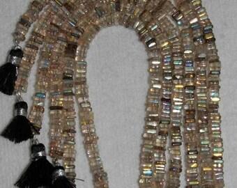 AB, AB Quartz, Rutilated Quartz, Quartz Heishi, Natural Stone, Semi Precious, Sparkle Bead, Spacer Bead, Full Strand, 5mm, AdrianasBeads