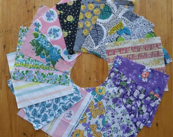 Vintage 5 inch Fabric Pack- 1920's - 1950's - Cotton Floursack Feedsack Percale Fabrics- Bundle #6