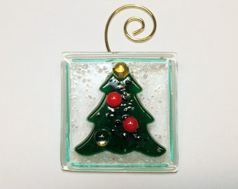 Fused Glass Small Christmas Tree Ornament