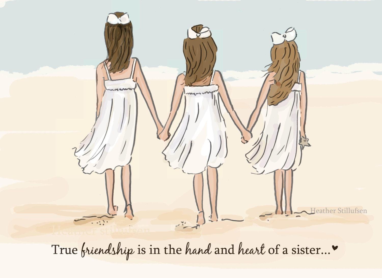 Cute Girls Room Ideas Sister Wall Art True Friendship Sisters Digital Art Print