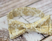 Toddler bow tie - boys bowtie - adjustable strap - floral - gold - metallic - baby - baby shower gift - boys - modern