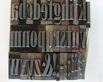 Vintage Metal Letterpress Type XL Onyx 72 pt Art Deco Lowercase 35 Piece