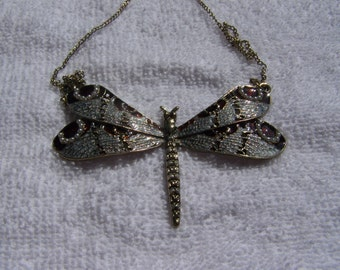 Beautiful Enamel  Pearl Dragonfly Center Piece Necklace