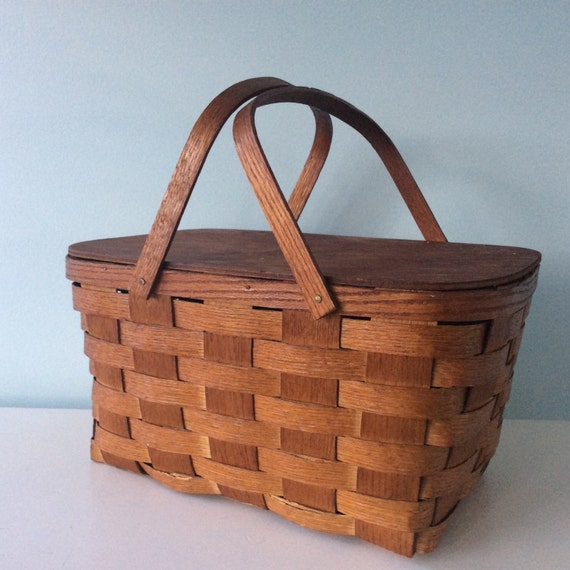 Wooden Picnic Basket Set : Picnic basket oak wood rustic farmhouse display s