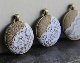 Rustic Bridesmaid Gift, Set of 4 Bridesmaid Necklaces, Burlap and Lace Wedding, Burlap Pendants, Boho Wedding Jewelry, Unique Shower Favors