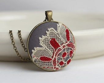 Red and Gray Pendant With Lace, Red Boho Necklace, Unique Anniversary Gift For Women, Cotton Jewelry, Large Pendant, Art Nouveau Jewelry