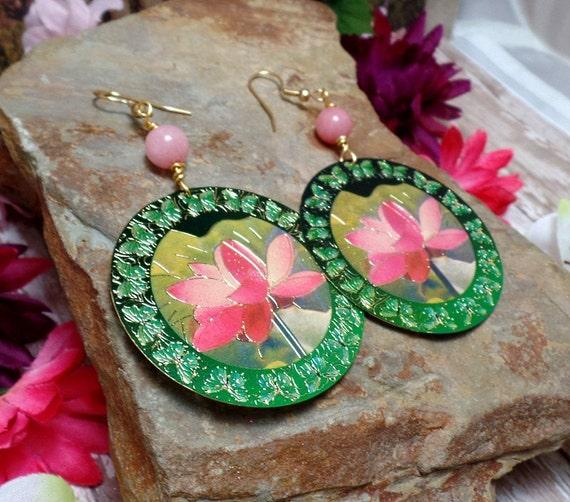Lotus Flower Disk Earrings - Rhodonite Bead Earrings - Lotus Jewelry - Gemstone Earrings - Pink Earrings - Free US Shipping