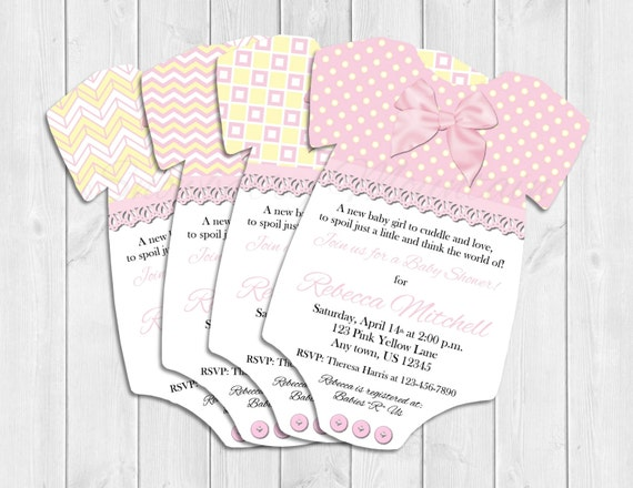 pink and yellow one piece baby shower invitations ii with envelopes