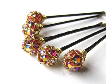 Red and Gold Crystal Hair Pins, AB Aurora Borealis 10mm or 8mm