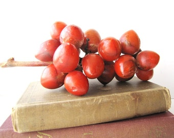 Vintage Mid Century Grape Cluster Italian Alabaster Red Grapes Wood Stem from AllieEtCie
