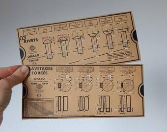french measuring cards vintage measurement hardware cards