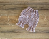 Baby Pants and Baby Headband Set, Diaper Cover, Newborn Props, Baby Props, Purple Pants, RTS, Natural Props, Baby Girl Props, Wool, Rustic