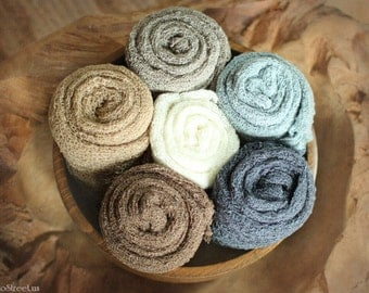 Newborn Props, Baby Props, RTS, Six Newborn Wraps, Newborn Boy or Girl , Natural Neutral Props, Ivory Wrap, Cream, Brown, Stretch Knit Wraps