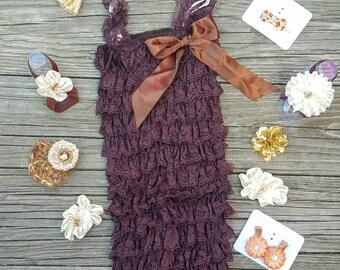 Lace Romper Baby Romper Lace Petti Romper 1st Birthday Outfit Petti Lace Romper Toddler Romper Girls Romper Brown Romper Newborn Romper