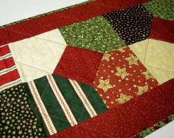 CIJ SALE Christmas Table Runner Quilted Christmas Punch Holiday Quiltsy Handmade FREE U.S. Shipping