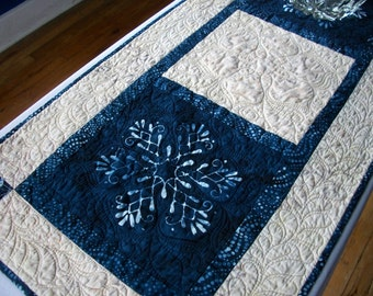Snowflake Batik Table Runner Winter Quilted Indigo Cream Quiltsy Handmade FREE U.S. Shipping