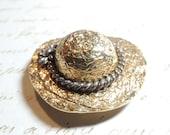 Large Vintage Brooch Pin Textured Gold Hat Premier Designs Vintage Jewelry