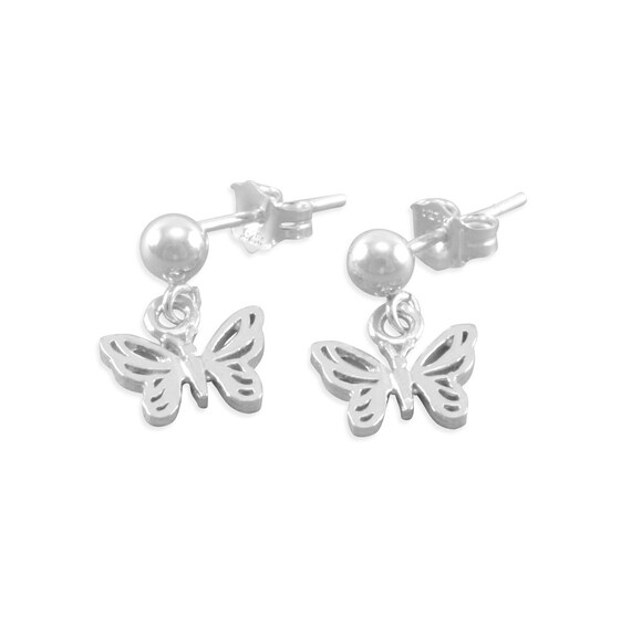 Little Girls Butterfly Earrings, Sterling Silver, small, childs jewelry, ball posts, for child, post earrings, for niece, birthday, BIANCA