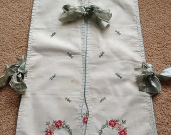 Vintage Girl's Child's Apron, Pinafore or Bib with Embroidery and Ribbons early 1900's Children Clothing
