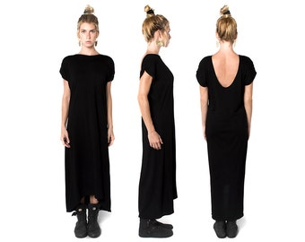 Black Low Back Dress - Long Black Dress - Low Back Dress - Eco Fashion - Black Dress