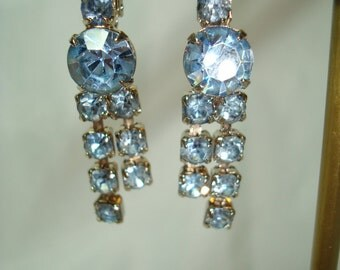1960s Blue Topaz Colored Dangle Earrings.