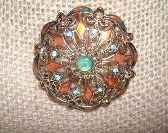 1993 MONET Citrine and Blue Colored Enameled Filagree Pin.