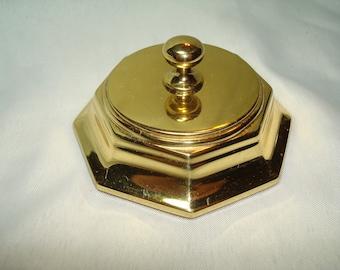 Vintage BALDWIN Solid Brass Hexagon Paperweight.