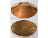 Copper Brass Shallow Catchall Bowl, Three Footed Metal Primitive Rusted Tray, Decorative Vanity Bowl, Catchalls