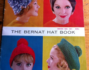 1961 The Bernat Hat Book Book no 101  Headwear hats caps beret old knitting patterns booklet